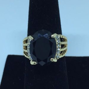 Jewelry - Ladies Black Gold Plated Ring
